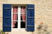 Blue Shuttered Window — Stock Photo