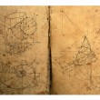 Photo composition of handwritten mathematical geometry drawings — Stock Photo #1671156