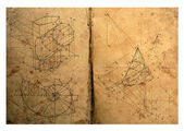 Photo composition of handwritten mathematical geometry drawings — Stock Photo