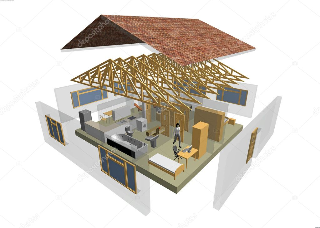 3D rendering of small house with furniture — Stock Photo #1678747