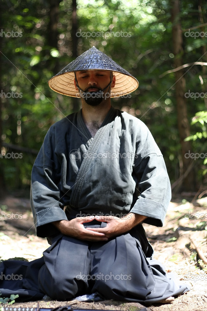 Samurai men relaxing by meditation — Stock Photo #1760508