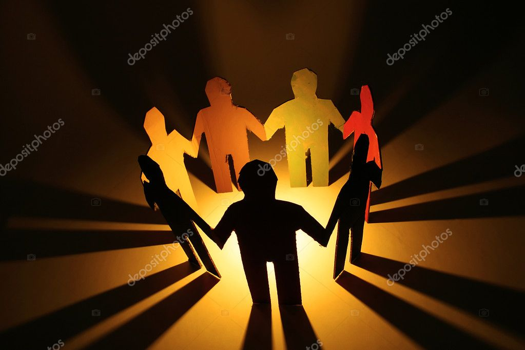 Colorful holding hands in a circle. — Stock Photo #1767907
