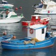 Blue red and white fishing boats — Stock Photo