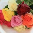 Stock Photo: Roses on white satin