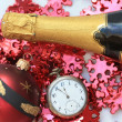 Champagne and christmas decorations - Stock Photo