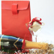 Christmas gifts and champagne — Stock Photo