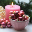 Pink christmas decorations - Stockfoto