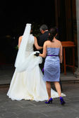 Bride entering the church — Stock Photo