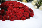 Red rose bouquet in the snow — Stock Photo