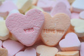 Yes, I love you valentine hearts — Stock Photo
