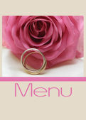 Pink rose menu card — Stock Photo