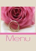 Pink rose menu card — Stock Photo