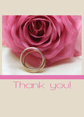 Pink rose card - Thank you — Zdjęcie stockowe