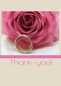 Pembe gül kartı - teşekkürler — Stok fotoğraf
