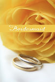 Yellow rose card - bridesmaid — Stock Photo