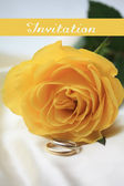 Yellow rose card - invitation — Stock Photo
