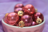 Pink and purple christmas decorations — Stock Photo