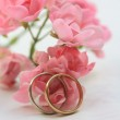 Wedding bands and pink roses — Stock Photo