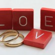 Love letters and wedding bands — Stock Photo