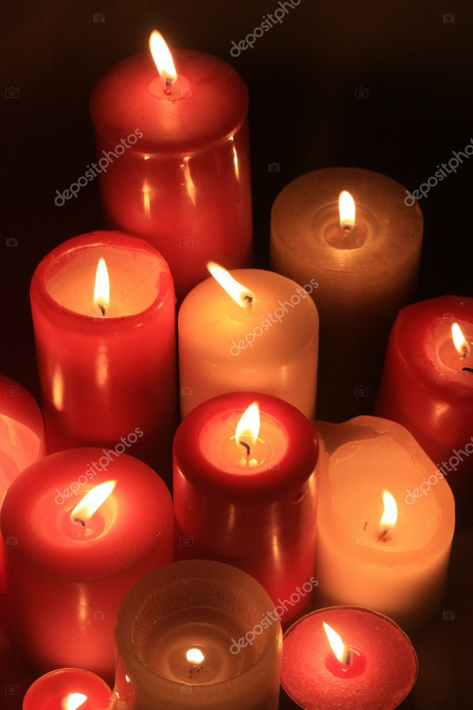 A big group of burning candles — Stock Photo #1700692