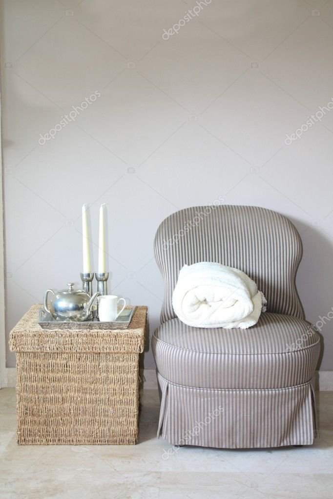 Nterior design: Classic Biedermeier chair and wicker footstool, white accessoiries — Stock Photo #1707659