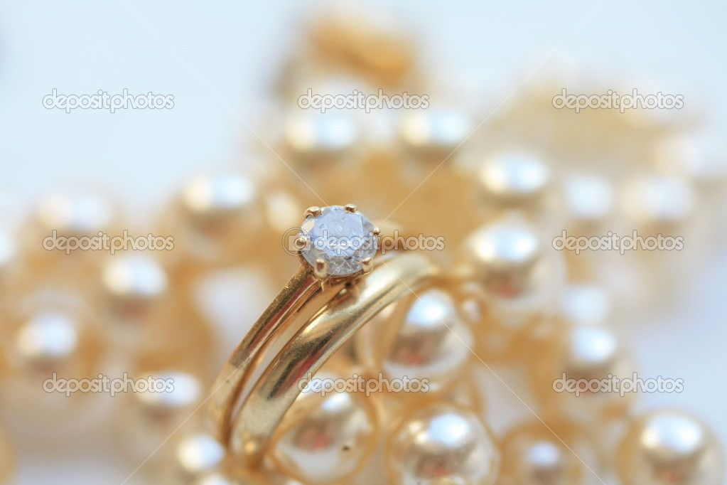 Diamond engagement ring and wedding band  Stock Photo #1708524