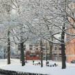 Snow in the city — Stock Photo