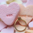 Diamond ring and candy hearts — Stock Photo #1714375