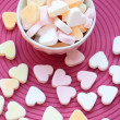 Candy hearts in bowl — Stock Photo