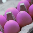 Purple eggs in a carton — Stock Photo