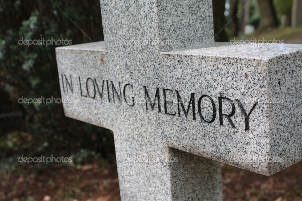 Grave ornament - Cross with  In loving memory text — Stock Photo #1761627