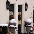 Frontdoors with christmas wreaths — Foto de Stock