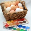 Royalty-Free Stock Photo: Coloring easter eggs