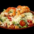 Caesar salad with prawns — Stockfoto
