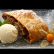 Strudel with ice cream — Stock Photo