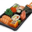 Mix japanese rolls and sushi assorti — Stock Photo
