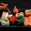 Mix japanese rolls and sushi assorti — Photo