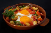 Roasted vegetables with egg — Stock Photo