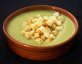 Puree soup with croutons — Stock Photo