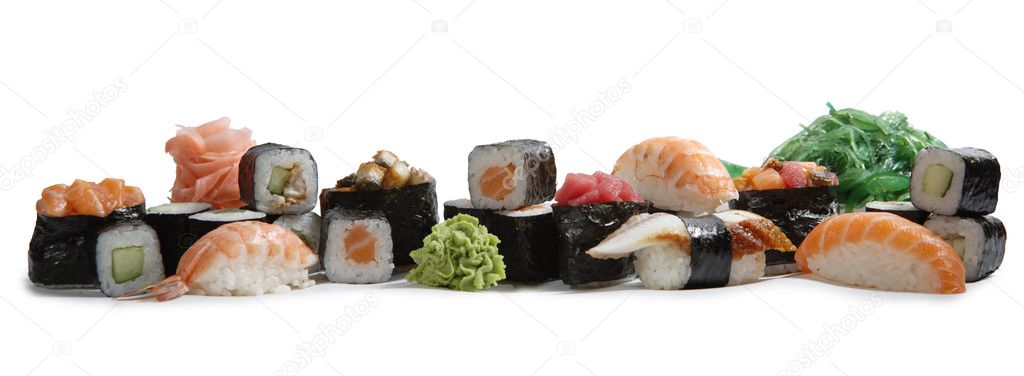 Japanese mix sushi and rolls on white bacground — Stock Photo #1651724
