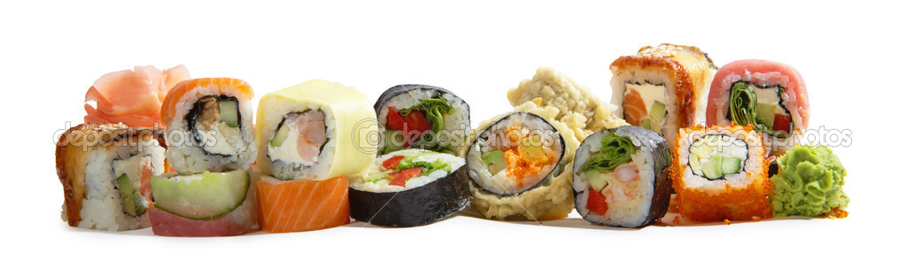 Assorted japanese maki rolls isolated on white background  Foto de Stock   #1651730