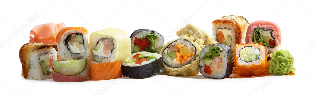 Assorted japanese maki rolls isolated on white background  Stock Photo #1651730