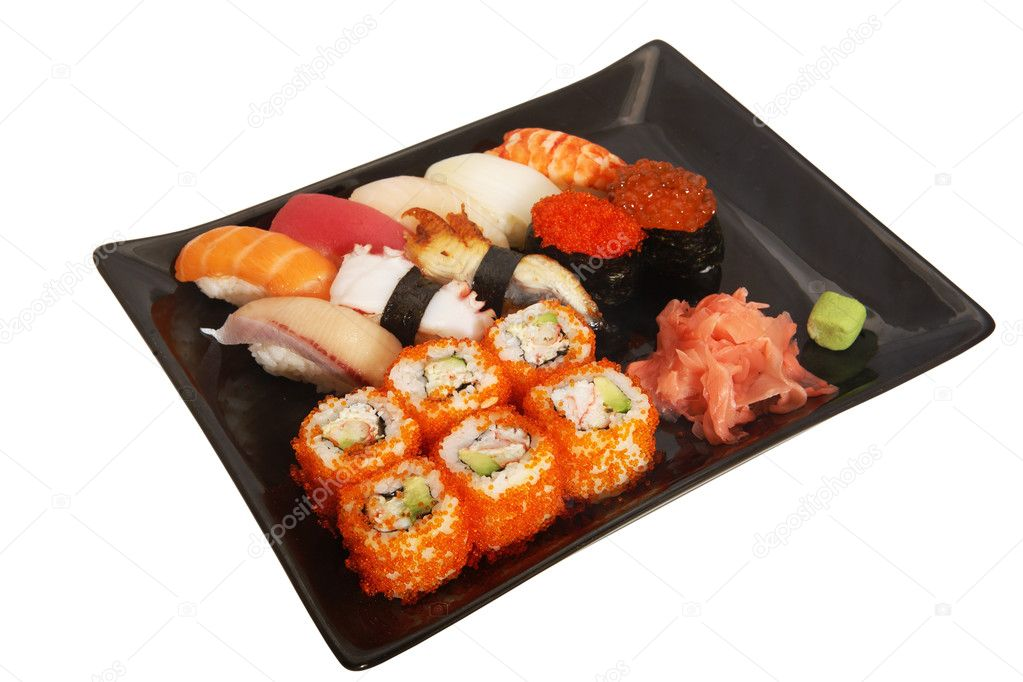 Japanese mix sushi and rolls on plate — Stock Photo #1651948