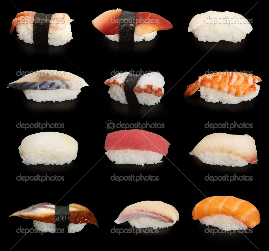 12 japanese sushies on black background — Zdjęcie stockowe #1652195