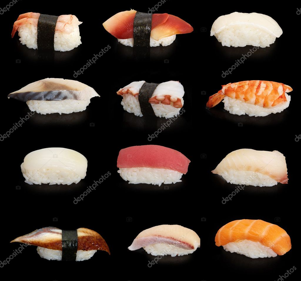 12 japanese sushies on black background — Lizenzfreies Foto #1652195
