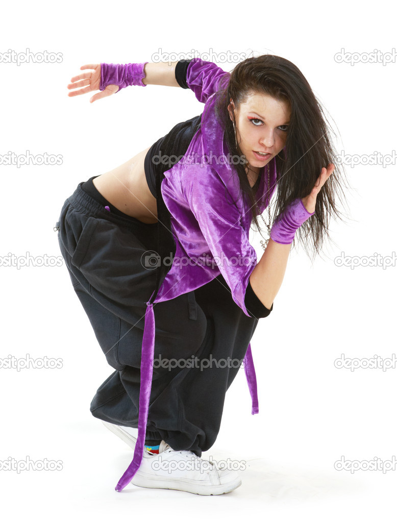Hip Hop Dance Group Poses Young Hip Hop Dancer Posing on