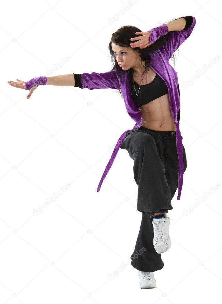 Young hip hop dancer posing isolated on white background  Stock Photo #1677342