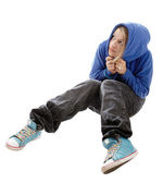 Frightened girl in a blue hooded jacket — Stock Photo