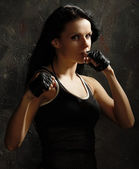 Kickboxing female — Stock Photo