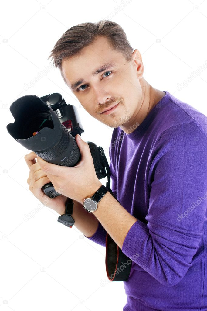 Man with camera posing isolated on the white background — Stock Photo #1698379